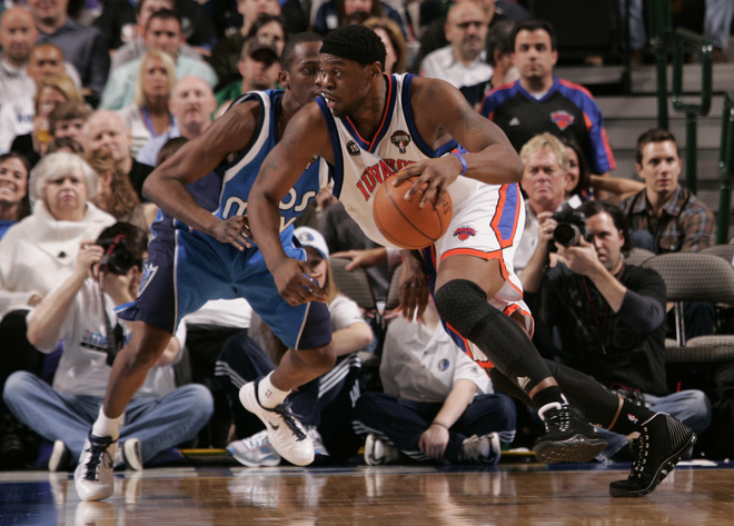 Bill Walker (5) of the New York Knicks drives against Rodrigue Beaubois (3) of the Dallas Mavericks during a game at the American Airlines Center.  The  Knicks   would  go  on  to  defeat  the  Mavericks  in  a  totally   lopsided victory <strong><em> 128-94 </strong></em> at  the   American  Airlines   Center  in   Dallas ,  Texas  in  front  of  a  sellout  crowd.   photo  appears  courtesy of   NBAE/ Getty  Images/  Glenn  James  ....................