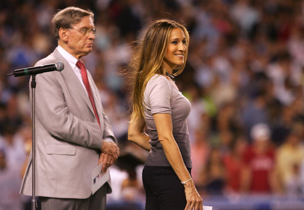 Commissioner of Major League Baseball Bud Selig and actress Sarah-Jessica Parker take part in an on field presentation during the 79th MLB All-Star Game at Yankee Stadium on July 15, 2008 in the Bronx borough of New York City.