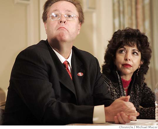 Denise  DeBartolo-York  and her   husband  Dr John  York - the  owners of  the  San  Francisco   49ers  .    photo  appears   courtesy  of the  San Francisco  Chronicle /  Michael  Macor  ..................