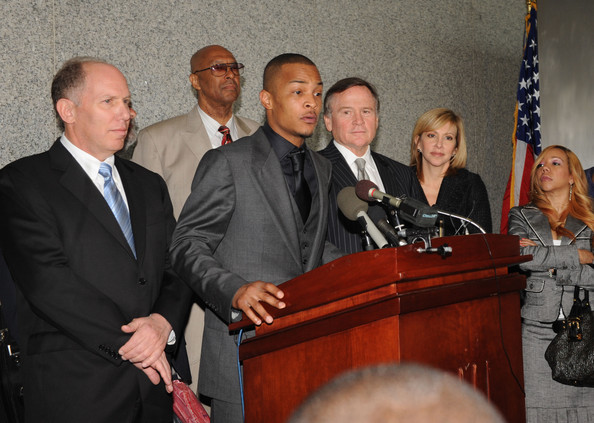 """Recording artist Clifford Harris a/k/a """"T.I"""" and his Attorney's Steven H. Sadow, Donald F. Sameul, Dwight L. Thomas, Ed Garland and Janice A. Singer address the press after being sentenced at the Richard B. Russell Federal Building and United States Courthouse on March 27, 2009 in Atlanta, Georgia. Harris received a one year and one day prison sentence on federal firearms charges. Following Harris' prison sentence, he will have three years of supervised release, 365 days of home confinement and 1500 hours of community service, with credit for about 305 days of home confinement and 1030 hours of community service completed before sentencing"""