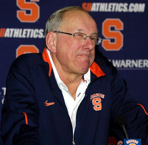 Syracuse coach Jim Boeheim ponders a question during a news conference about the NCAA college basketball tournament in Syracuse, N.Y., Sunday, March 14, 2010. Syracuse faces Vermont on Friday