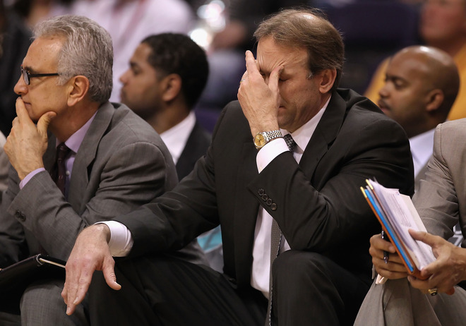 Head coach Kurt Rambis of the Minnesota Timberwolves reacts during the NBA game against the Phoenix Suns at US Airways Center on March 16, 2010 in Phoenix, Arizona. photo  appears courtesy  of  Getty  Images/  Christian  Petersen ...........