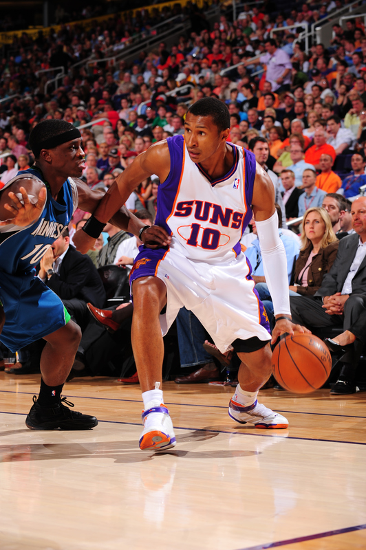 Leandro Barbosa (10) of the Phoenix Suns drives against Jonny Flinn (10) of the Minnesota Timberwolves in an NBA Game played on March 16, 2010 at U.S. Airways Center in Phoenix, Arizona.  photo appears   courtesy of NBAE/Getty  Images/  Paul  Molumby  ..............