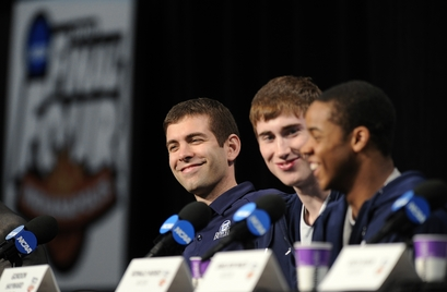 """Butler head coach Brad Stevens, left to right, Gordon Hayward and Ronald Nored smile during an interview session for the men's NCAA Final Four college basketball championship Sunday, April 4, 2010, in Indianapolis. The Butler Bulldogs will face Mike Krzyzewski's Duke Blue Devils in the championship game Monday night to be played at Lucas Oil Stadium , Indianapolis, Indiana. This in many ways will be very much a """"home game"""" for the small and in-obtrusive college team from Indiana. The furor over over their improbable journey has resonated within the state and across the nation. photo appears courtesy of Associated Press/ Mark J Terrill ..............."""