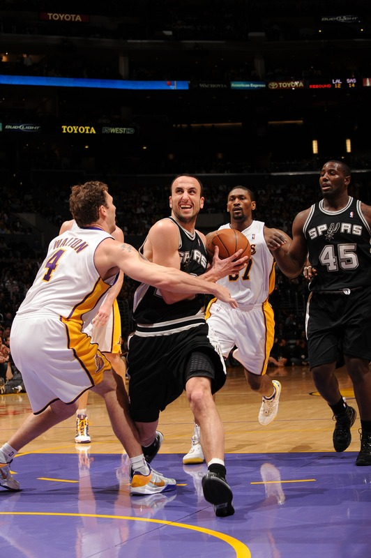 Los Angeles, April 4th 2010. <strong> Manu Ginobil </strong> (20) of the San Antonio Spurs goes to the basket against Luke Walton (4) of the Los Angeles Lakers at Staples Center on   Sunday.    The   San  Antonio   Spurs  would   go  on  to  defeat  the  Los  Angeles Lakers  <u> 100-81 </u>  in a  game   played  at  the Staples  Center  in  Los  Angeles, California. photo  appears  courtesy  of  NBAE/ Getty  Images/  Noah Grahame  ................