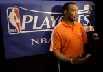 Phoenix Suns head coach Alvin Gentry speaks with the media after basketball practice Tuesday, May 11, 2010 in Phoenix. The Suns will face the Los Angeles Lakers in the Western Conference Finals beginning May 17th. Associated Press/ Matt York ....