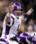 Minnesota Vikings quarterback Brett Favre (4) calls a play at the line during the fourth quarter of the NFC Championship NFL football game against the New Orleans Saints in New Orleans, Sunday, Jan. 24, 2010. AP Photo/Morry Gash ......
