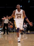 Kobe Bryant of the Los Angeles Lakers protests a call during the game against the Utah Jazz during their conference semi finals game played at the Staples Center in Los Angeles, California. Getty Images/ Stephen Dunn ...........