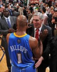 Chauncey Billups cogratulates Jazz coach after the game six loss to the Jazz . The heavily favored Nuggets fell at the first hurdle of this season's playoffs NBAE Getty Images Scott Charles