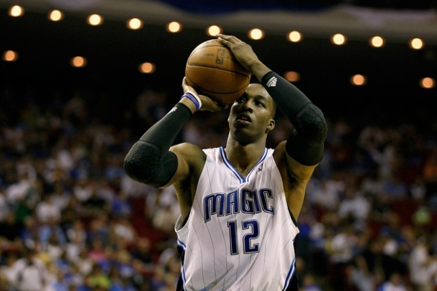 Dwight Howard (12) of the Orlando Magic attempts a free throw attempt against the Boston Celtics in Game Two of the Eastern Conference Finals during the 2010 NBA Playoffs at Amway Arena on May 18, 2010 in Orlando, Florida. Getty Images / Kevin C. Cox .....