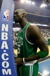 Keivn Garnett (5) of the Boston Celtics readies himself to play against the Orlando Magic in Game Two of the Eastern Conference Finals during the 2010 NBA Playoffs at Amway Arena on May 18, 2010 in Orlando, Florida. Getty Images/ Kevin C. Cox ......