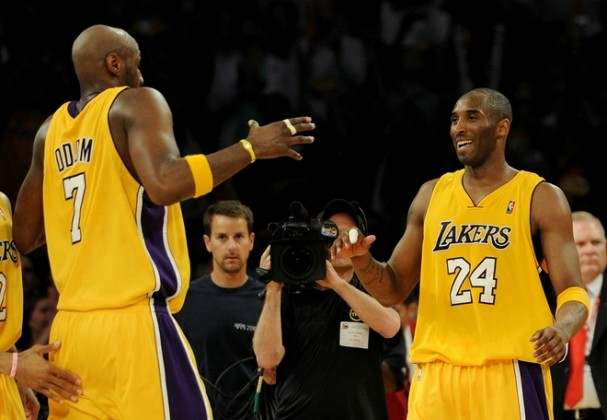 Los Angeles , Ca,. Kobe Bryant (24) of the Los Angeles Lakers celebrates with teammate Lamar Odom (7) after defeating the Phoenix Suns in Game Two of the Western Conference Finals during the 2010 NBA Playoffs at Staples Center on May 19, 2010 in Los Angeles, California. Getty Images / Harry How .........