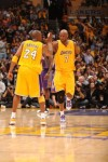 Kobe Bryant (24) and Lamar Odom (7) of the Los Angeles Lakers slap hands against the Phoenix Suns in Game One of the Western Conference Finals during the 2010 NBA Playoffs at Staples Center on May 17, 2010 in Los Angeles, California. NBAE Getty Images/ Andrew D Bernstein ......