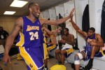 Kobe Bryant (24) of the Los Angeles Lakers in the locker after the game win against the Utah Jazz in Game Four of the Western Conference Semifinals during the 2010 NBA Playoffs at the EnergySolutions Arena on May 10, 2010 in Salt Lake City, Utah. NBAE /Getty Images/ Andrew D Bernstein .............