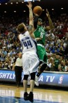 Rajon Rondo (9) of the Boston Celtics drives for a shot attempt against Jason Williams (44) of the Orlando Magic in Game Two of the Eastern Conference Finals during the 2010 NBA Playoffs at Amway Arena on May 18, 2010 in Orlando, Florida. Getty Images/ Doug Benc .........