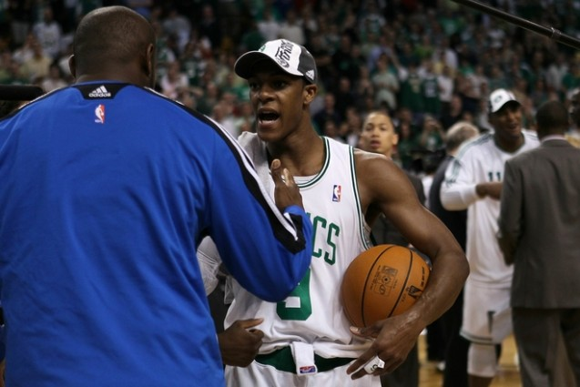 Rajon Rondo (9) of the Boston Celtics is congratulated by Anthony Johnson the Orlando Magic after the Celtics won 96-84 in Game Six of the Eastern Conference Finals during the 2010 NBA Playoffs at TD Garden on May 28, 2010 in Boston, Massachusetts. Getty Images/ Elsa