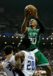 Ray Allen (20) of the Boston Celtics drives for a shot attempt against the Orlando Magic in Game Two of the Eastern Conference Finals during the 2010 NBA Playoffs at Amway Arena on May 18, 2010 in Orlando, Florida. Getty Images/ Kevin C. Cox .....