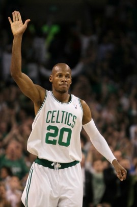 Ray Allen (20) of the Boston Celtics celebrates late in the fourth quarter against the Orlando Magic in Game Six of the Eastern Conference Finals during the 2010 NBA Playoffs at TD Garden on May 28, 2010 in Boston, Massachusetts. Getty Images/ Jim Rogash ....................