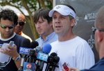 New Orleans Saints coach Sean Payton speaks with the media after a morning workout of rookie football camp in Metairie, La., Saturday, May 8, 2010. (AP Photo/Bill Haber)