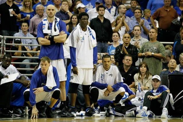 ORLANDO, FL - MAY 18: (L-R) Jason Williams (44), Marcin Gortat (13), Mickael Pietrus(20) and Matt Barnes (22) of the Orlando Magic look on dejected from the bench against the Boston Celtics in Game Two of the Eastern Conference Finals during the 2010 NBA Playoffs at Amway Arena on May 18, 2010 in Orlando, Florida. The output from the Magic' bench can be best described as being anemic in game two. Getty Images/ Kevin C. Cox ......
