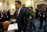 Treasury Secretary Timothy Geithner arrives on Capitol Hill in Washington, Tuesday, March 3, 2009, to testify before the House Ways and Means Committee. Associated Press/ Susan Walsh .........