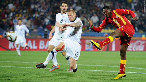 Asomoah Gyan scores Ghana's second goal in extra time the team's 2-1 defeat of the USA. AFP/ Getty Images/ Kume Okuwelulu ................