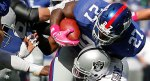 Brandon Jacobs (12) seen here playing for the New York Giants in an NFL game against the Oakland Raiders. Getty Images/ Matt Crowther