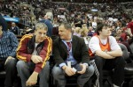 Cavaliers owner Dan Gilbert, center, seen here at a home game last week, isn't too worried about losing LeBron James to free agency. courtesy of The Cleveland Plain Dealer / Joshua Gunter ............