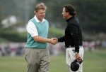 Pebble Beach, CA - June 20th 2010,. Ernie Els of South Africa (L) shakes hands with Phil Mickelson on the 18th green during the final round of the 110th U.S. Open at Pebble Beach Golf Links on June 20, 2010 in Pebble Beach, California. Getty Images/ Harry How .........