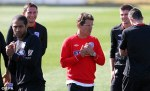 Fabio Capello and members of the England squad at their practice faciltity in Rustenberg