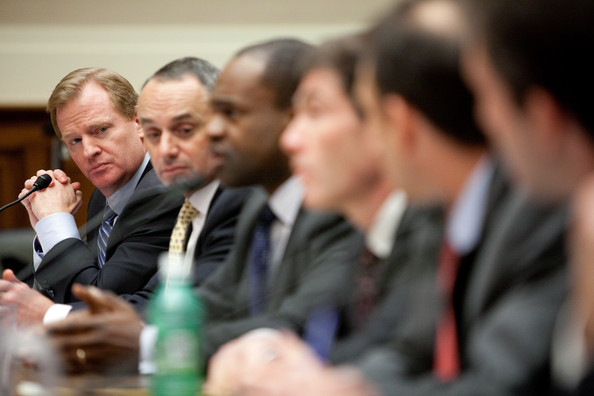 National Football League Commissioner Roger Goodell, Rob Manfred, executive vice president of labor and human resources in the Office of the Commissioner of Baseball, Major League Baseball, NFL Players Association Executive Director DeMaurice Smith, Michael Weiner, general counsel for the Major League Baseball Players Association, Travis Tygart, CEO of the United States Anti-Doping Agency, Gabriel Feldman, associate professor of law and director of the Sports Law Program at Tulane University Law School, and Jeffrey Standen, professor of law at the Willamette University College of Law (L-R), testify on Capitol Hill on November 3, 2009 in Washington, DC. The hearing focused on doping in professional sports. Getty Image North America Inc/ Brendan Hoffman ................