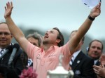 Northern Ireland's Graeme McDowell celebrates after winning the US Open Trophy at the 110th U.S. Open at Pebble Beach Golf Links at the US Open golf championship in Pebble Beach, California on June 20, 2010. AFP/Getty Images/ Robyn Beck .........