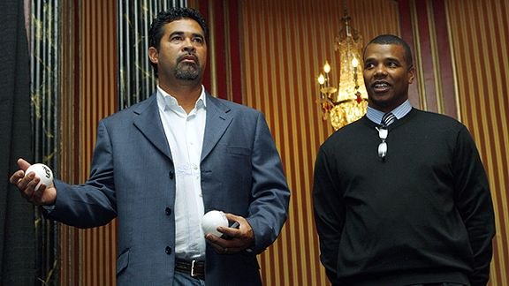 GM Kenny Williams (r) and WhitE Sox manager Ozzie Guillen . Though the pair have won a World Series together as manager and executive for the team. Their relationship can be best described as being testy one minute or downright dour the next and they still manage to get things going. But with the team now underperforming it's not clear how much longer things will last for the duo. AP Photo / Nam Y Yuh ................