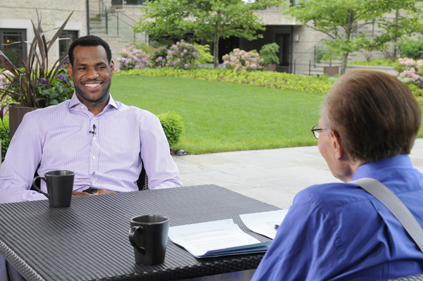 CNN's Larry King interviews basketball star LeBron James at his home in Akron, Ohio during a taping of Larry King Live on Tuesday, June 1, 2010. The show is slated to air on Friday, June 4, 2010 at 9:30pm ET. Lorenzo Bevilaqua/CNN