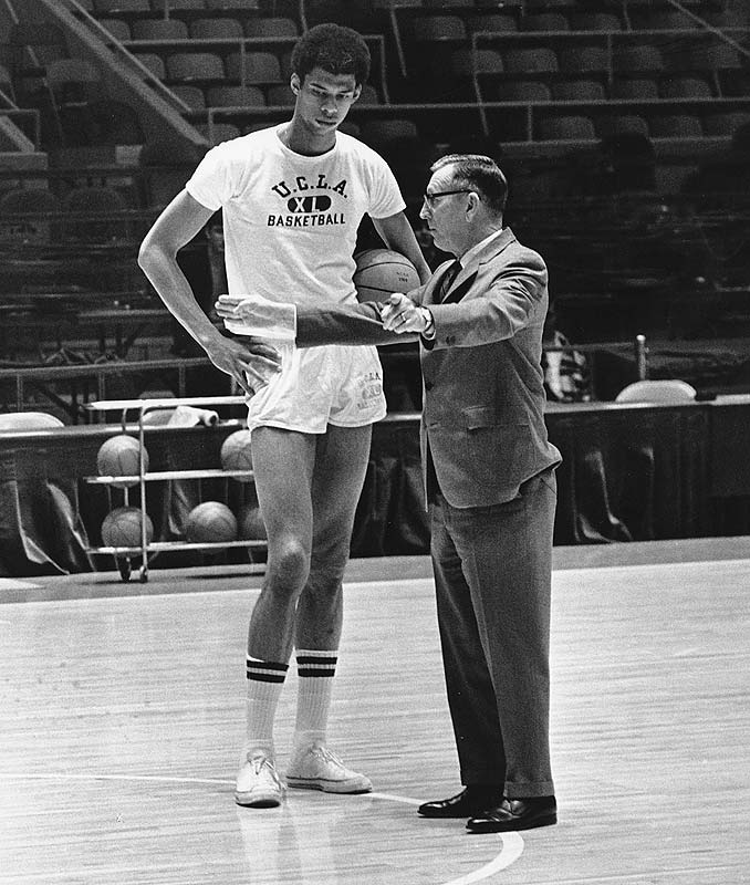 """Wooden seen here alongside Lew Alcindor who would later go on the """"legendary status"""" within the NBA and come to be known as Kareem Abdul Jabbar . courtesy of SI.com .............."""