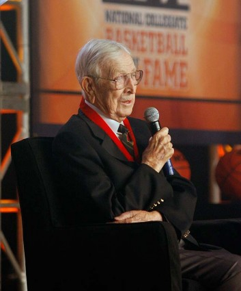 Wooden was inducted into the first-ever National Collegiate Basketball Hall of Fame class in 2006, a class that included Dean Smith, Bill Russell, Oscar Robertson and James Naismith. He is also in the Basketball Hall of Fame, both as a player (class of 1961) and a coach (1973). Associated Press / Craig Hentrich ...............
