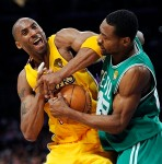 Los Angeles Lakers guard Kobe Bryant struggles for the ball with Boston Celtics guard Tony Allen during the second half of Game 6 of the NBA basketball finals Tuesday, June 15, 2010, in Los Angeles. The Lakers won 89-67. Associated Press / Mark J. Terrill