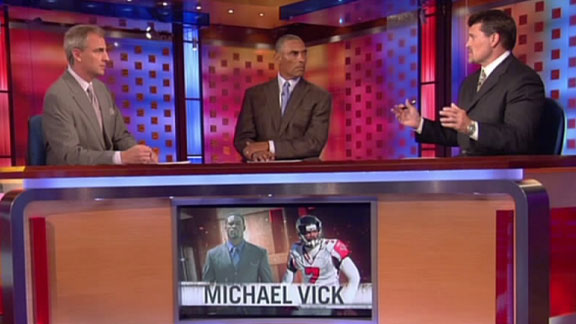 Trey Wingo (left), Herm Edwards (center) and Mark Schlereth of ESPN discuss the NFL on the network's NFL Live . picture appears courtesy of espn.go.com/ Alex Hughes copyrighted material @ All rights reserved .................