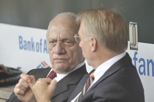 Orioles' owner Peter Angelos (left) and team President & GM Andy MacPhail (right). courtesy of Baltimore Sun / Gail Sweeney ...........