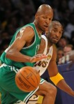 Boston Celtics player Ray Allen (L) and LA Lakers guard Kobe Bryant (R) compete for the ball before Boston Celtics went on to win 103-94 in game two of the NBA finals at the Staples Center in Los Angeles on June 6, 2010. Ray Allen buried a record eight three pointers and scored a post-season high 32 points as the Boston Celtics beat the Los Angeles Lakers 103-94 to even their NBA finals series at one game each. AFP/ Getty Images/ Mark Ralston .......