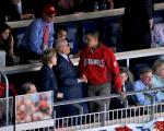 Nationals' owner Ted Lerner is seen here shaking hands with President Barack Obama who was in atttendance at a Washington Nationals game at Nationals Park in Washington D.C. . Getty Images North America Inc / Christine Worth ..........
