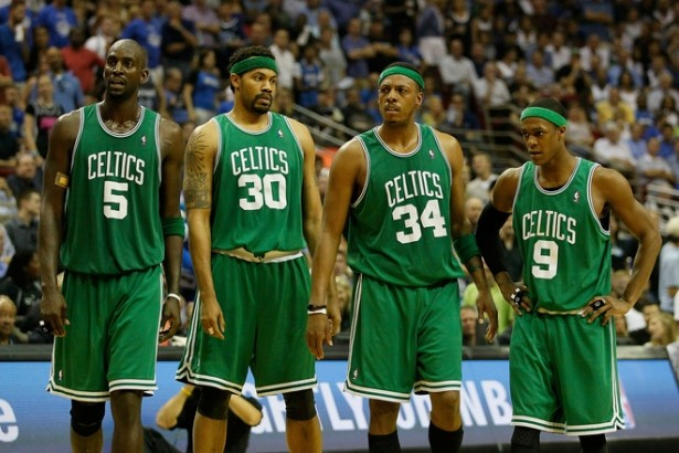 Kevin Garnett, Rasheed Wallace , Paul Pierce and Rajon Rondo of the Boston Celtics look on during a stop in play against the Orlando Magic in Game Two of the Eastern Conference Finals during the 2010 NBA Playoffs at Amway Arena on May 18, 2010 in Orlando, Florida. The Los Angeles Lakers look to win the NBA Finals for the second year in a row as they take on the Boston Celtics starting with Game One on June 3 in Los Angeles. The Celtics last won the NBA Finals in 2008 by defeating the Lakers 4 games to 2. Getty Images/ Kevin C. Cox ............