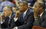 "Thibodeau (left) is seen here alongside Celtics' coach Doc Rivers (center) and assistant coach Armond Hill (right). Thiboideau is often thought of as a ""defense guru"" and is the architect of the Celtics' much lauded defensive schemes and play. courtesy of the Boston Globe / Jim Davis ............"