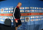 US team soccer coach Bob Bradly makes his way to the dais /podium to address the convened press during the World Cup . Getty Images / Elise Amendola ..........