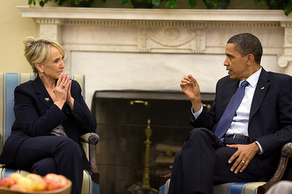 President Barack Obama meets with Arizona Gov. Jan Brewer in the Oval Office, June 3, 2010. Official White House Photo by Pete Souza ........ This official White House photograph is being made available only for publication by news organizations and/or for personal use printing by the subject(s) of the photograph. The photograph may not be manipulated in any way and may not be used in commercial or political materials, advertisements, emails, products, promotions that in any way suggests approval or endorsement of the President, the First Family, or the White House.