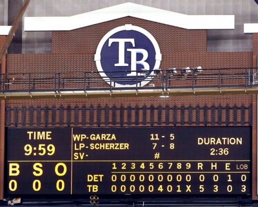 St. Petersburg - July 26th 2010: The scoreboard after the game between the Tampa Bay Rays of the Detroit Tigers where Matt Garza #22 threw a no hitter at Tropicana Field on July 26, 2010 in St. Petersburg, Florida. Tampa Bay beat Detroit 5-0. Photo by J. Meric /Getty Images ......