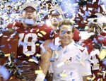 Head coach Nick Saban and Mike Johnson #78 of the Alabama Crimson Tide celebrate after their 32-13 win against the Florida Gators during the SEC Championship game at Georgia Dome on December 5, 2009 in Atlanta, Georgia. Kevin C. Cox/Getty Images North America ...