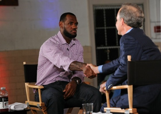 Greenwich , CT LeBron James and ESPN's Jim Gray speak at the LeBron James announcement of his future NBA plans at the Boys & Girls Club of America on July 8, 2010 in Greenwich, Connecticut. James announced during a live broadcast on ESPN that he will play for the Miami Heat next season. Larry Busacca/Getty Images for Estabrook Group