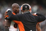 Chad Ochocinco #85 of the Cincinnati Bengals talks with head coach Marvin Lewis against the Oakland Raiders during an NFL game at Oakland-Alameda County Coliseum on November 22, 2009 in Oakland, California. Jed Jacobsohn/Getty Images North America ...