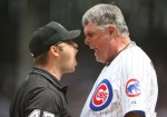Cubs' manager Lou Piniella seen here remonstrating with a league official during a game. Much of Piniella's on field antics seems to have epitiomized his team's decline this season. Getty Images/ Mackenzie Stewart ................